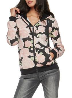 Long Sleeve Floral Fleece Hoodie - 3034051066355