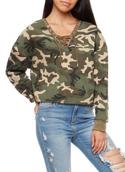 Camo Lace Up Cropped Sweatshirt - 3034051069683