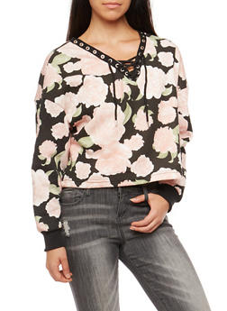 Rose Print Lace Up Cropped Sweatshirt - 3034051069684