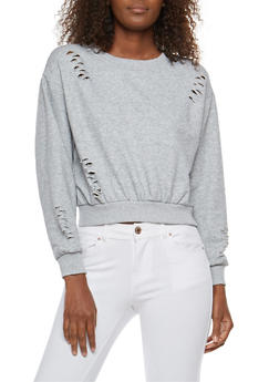 Distressed Cropped Sweatshirt - 3034051069685