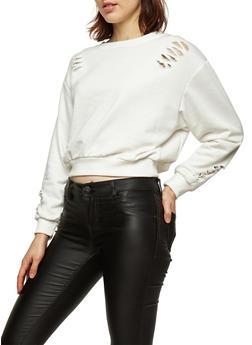 Distressed Cropped Sweatshirt - IVORY - 3034051069685