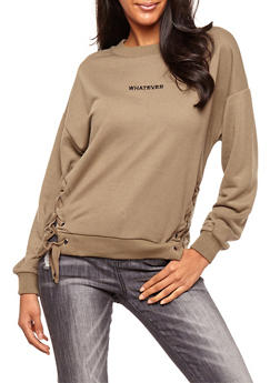 Whatever Lace Up Crew Neck Sweatshirt - 3034051069726