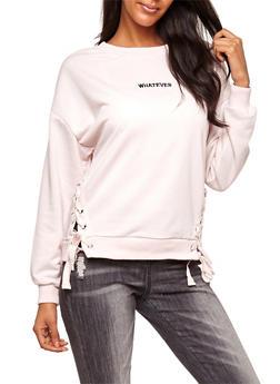 Whatever Lace Up Crew Neck Sweatshirt - BLUSH - 3034051069726