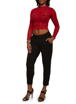 Lace Crop Top with Scalloped Hem - 3034054266809