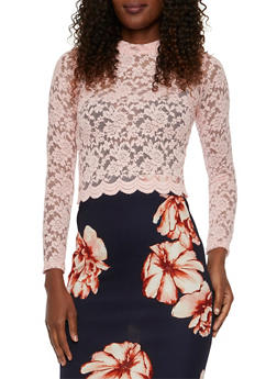 Lace Crop Top with Scalloped Hem - BLUSH - 3034054266809
