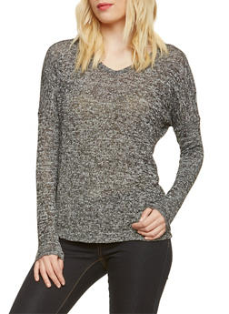 Knit Long Sleeve Top with V-Neck - 3034054266848