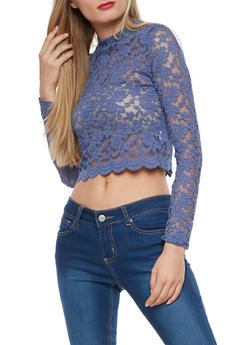 Scalloped Lace Crop Top - 3034054267810