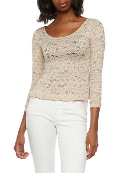Flared Lace Top with Long Sleeves - 3034054268719