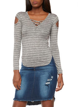Striped Lace Up Long Sleeve Top - 3034058750006