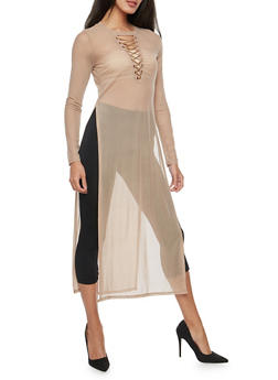 Mesh Lace Up Maxi Top - 3034058750434
