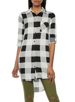 Plaid Tunic Top with High Low Hem - 3034058754623