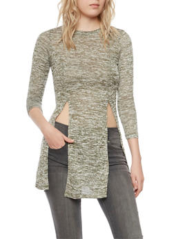 Marled Tunic Top with Front Slits - OLIVE - 3034058755667