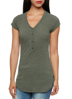 Ribbed Tunic Top with Buttoned V Neck - 3034058755738
