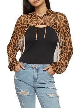 Mesh Leopard Print Open Front Hoodie - 3034058758703