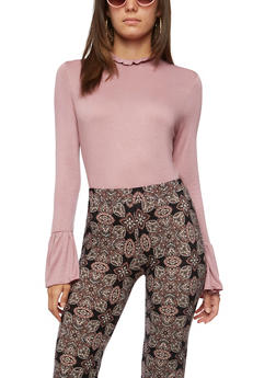 Long Flared Sleeve Top - MAUVE - 3034058758843