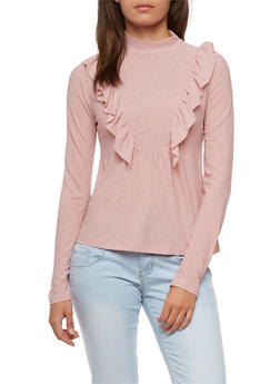Long Sleeve Ruffle Trim Top - MAUVE - 3034058758878