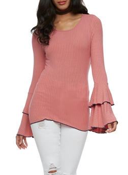 Long Ruffled Sleeve Rib Knit Top - MAUVE/NAVY - 3034058759031