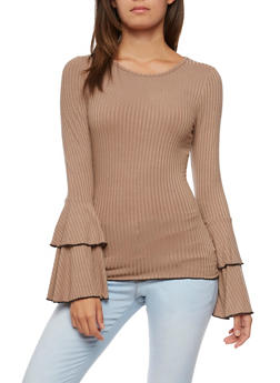 Long Ruffled Sleeve Rib Knit Top - 3034058759031