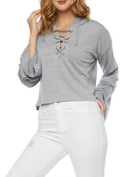 Cropped Lace Up Hoodie with Bell Sleeves - 3034058759153