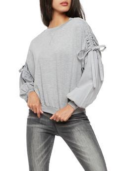 Ruched Tie Sleeves Sweatshirt - 3034058759160
