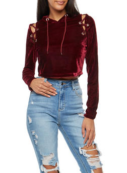 Velvet Lace Up Cropped Cold Shoulder Top - 3034058759215