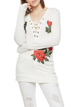 Lace Up Tunic Top with Floral Applique - 3034058759285