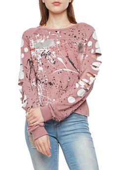 Paint Splatter Slashed Top - 3034058759372
