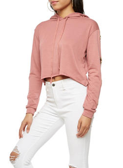 Long Sleeve Crop Top with Grommets - 3034058759381