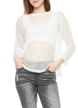 Long Sleeve Fishnet Top with Sports Bra Underlay - 3034058759542