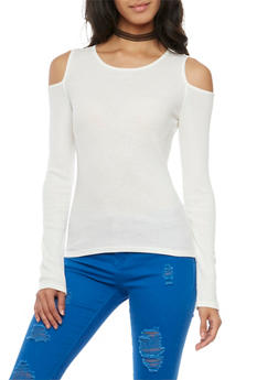 Cold Shoulder Top with Long Sleeves - IVORY - 3034066245016