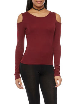Cold Shoulder Top with Long Sleeves - 3034066245016