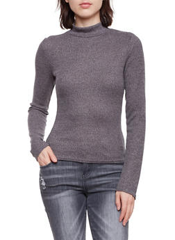 Mock Neck Sweater in Ribbed Knit - 3034066245049