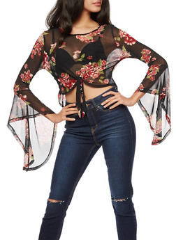 Long Sleeve Floral Print Mesh Crop Top - 3034067330086