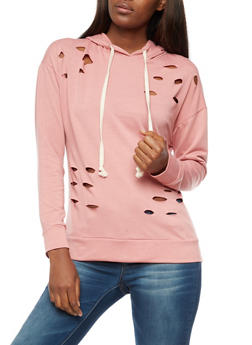 Long Sleeve Hooded Laser Cut Sweatshirt - 3034067330101