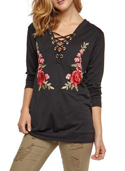 Long Sleeve Lace Up Embroidered Top - 3034067330110