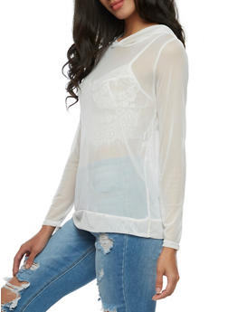 Mesh Hooded Top with Floral Applique - WHITE - 3034067330118