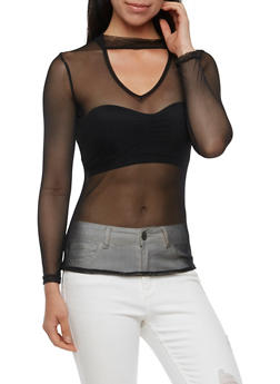 Long Sleeve Mesh Choker Top - 3034067330119