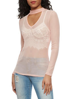 Long Sleeve Mesh Choker Top - BLUSH - 3034067330119