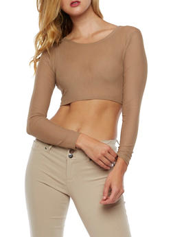 Long Sleeve Mesh Crop Top - 3034067330120