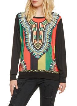 Sweatshirt in Dashiki Print - 3034067330135