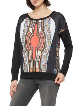 Long Sleeve Dashiki Print Top - 3034067330138