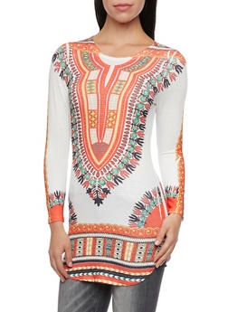 Tunic Top in Dashiki Print with Long Sleeves - 3034067330140