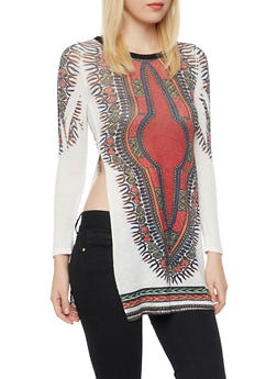 Tunic Top in Dashiki Print with High Side Slits - 3034067330142
