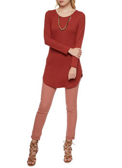 Sueded Tunic Top with Necklace - 3034067330216