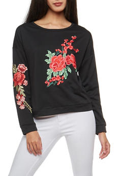Floral Applique Sweatshirt - BLACK - 3034067330219