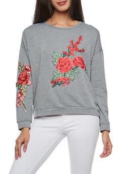 Floral Applique Sweatshirt - 3034067330219