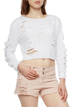 Long Sleeve Distressed Crop Top - 3034067330220