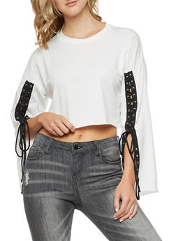 Crop Top with Long Lace Up Sleeves - WHITE/BLK - 3034067330221
