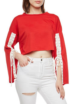 Crop Top with Long Lace Up Sleeves - RED/WHT - 3034067330221