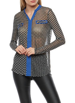 Dotted Mesh Long Sleeve Top - 3034067330236